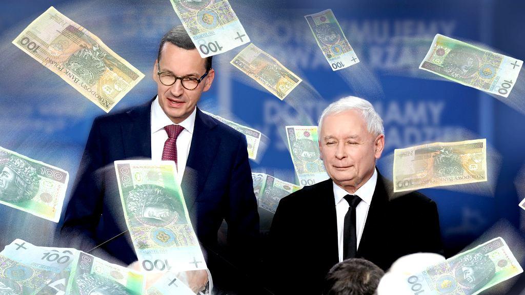 Zdjęcie ilustracyjne. Premier Mateusz Morawiecki, prezes Jarosław Kaczyński. Pieniądze