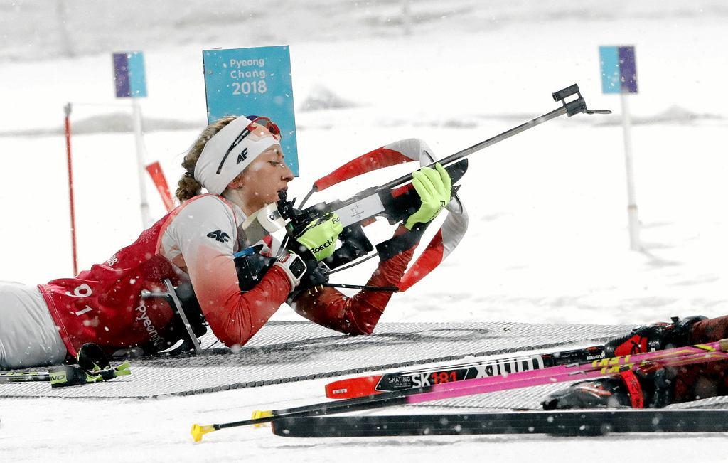 Monika Hojnisz na trasie biegu sztafetowego. XXIII Zimowe Igrzyska Olimpijskie Pjongczang 2018, 22 lutego 2018