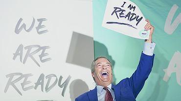 Nigel Farage, lider Brexit Party podczas partyjnego spotkania pod hasłem 'We are ready' w Essex, Wielka Brytania, 2 września 2019.