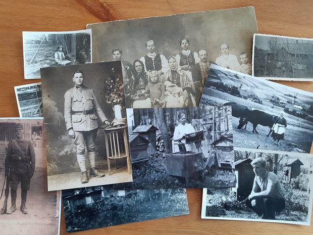 Zdjęcia z rodzinnego albumu Rafała Szeli dokumentują pszczelarską historię rodziny. W środku po lewej pradziadek, po prawej prababcia, która po jego śmierci zajęła się pasieką