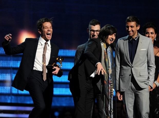 LOS ANGELES - FEBRUARY 10: Jack Antonoff, Nate Ruess and Andrew Dost of 'fun.' speak onstage at the 55th Annual Grammy Awards at the Staples Center, February 10, 2013 in Los Angeles, California. (Photo by Frank Micelotta/PictureGroup)