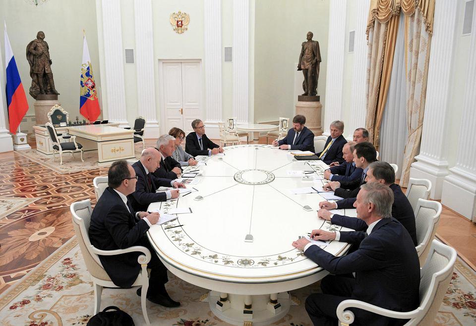 20.06.2018, Kreml, spotkanie delegacji Rady Europy na czele z przewodniczącym Thorbj?rnem Jaglandem (trzeci od lewej) z Władymirem Putinem.