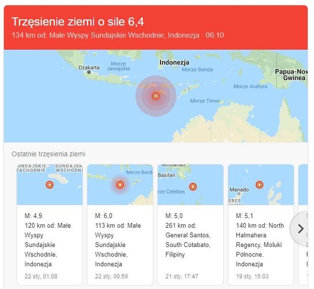 Silne trzęsienia ziemi  niedaleko Indonezji, w tzw. Pacyficznym Pierścieniu Ognia