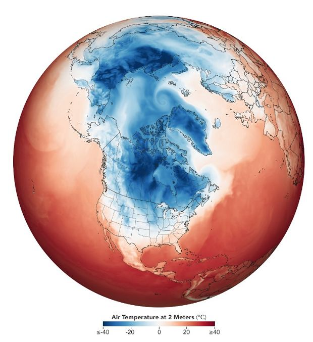 Temperatura na półkuli północnej 29 stycznia (kolor niebieski - ujemna, kolor czerwony - dodatnia, kolor biały - zero stopni)