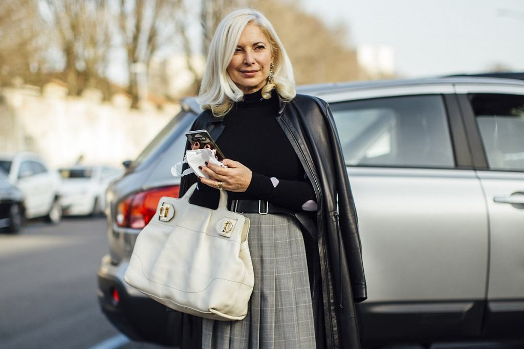 Elegancka stylizacja, fashion week Milan