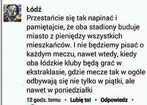 Odpowiedź oficjalnego profilu 'Łódź' na FB