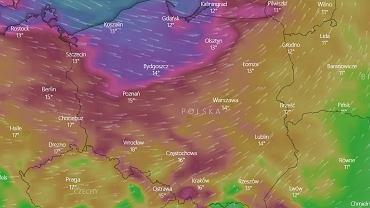 Mapa porywów wiatru na czwartek 23 września.