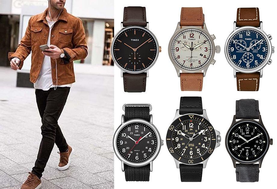 Kolaż zegarki na pasku Timex