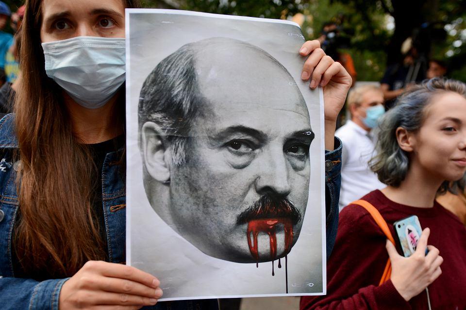 Protest przeciw prezydentowi Łukaszence, Kijów, sierpień 2020 r.