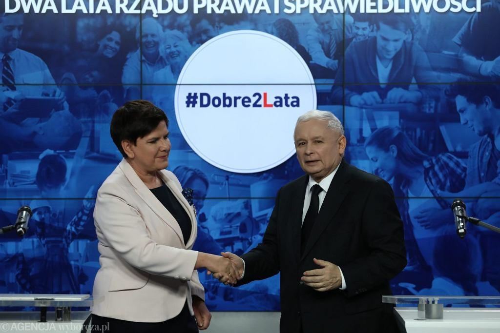 Prezes Jarosław Kaczyński i ówczesna premier Beata Szydło, 14 listopada 2017.