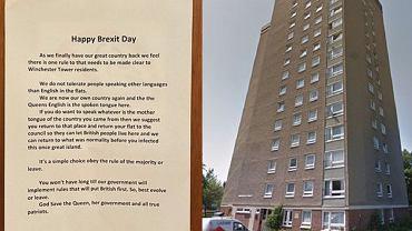 Oburzająca notatka na drzwiach bloku socjalnego w Norwich