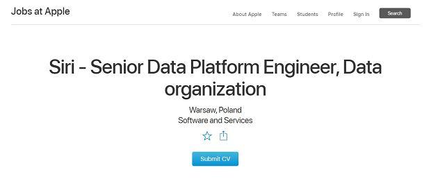 Apple szuka pracownika do działu Siri w Polsce