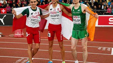 Trójka medalistów na 800 m. Adam Kszczot, Artur Kuciapski i Mark English