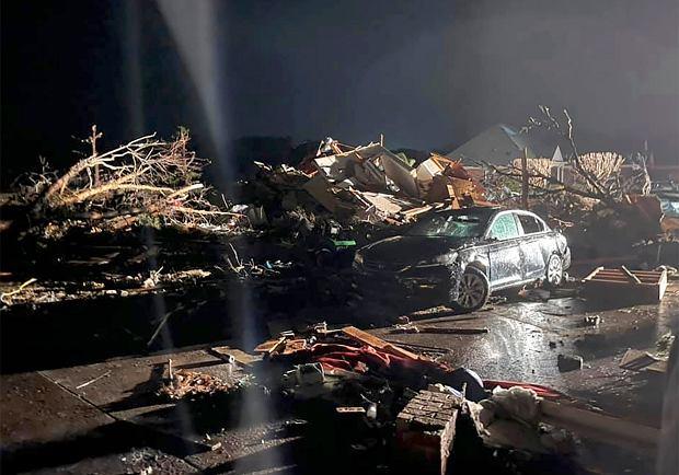 USA. Tornado w hrabstwie Brunswick. 16 lutego 2021 r.
