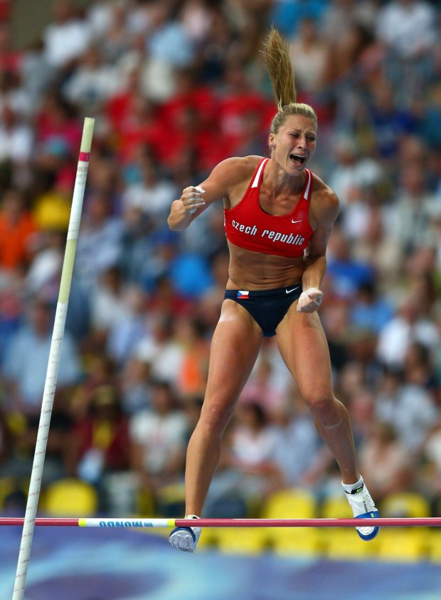 .MOSCOW, RUSSIA - AUGUST 13:  Jirina Ptacnikova-Svobodova of the Czech Republic celebrates a jump in the Womens pole vault final during Day Four of the 14th IAAF World Athletics Championships Moscow 2013 at Luzhniki Stadium on August 13, 2013 in Moscow, Russia.  (Photo by Cameron Spencer/Getty Images)