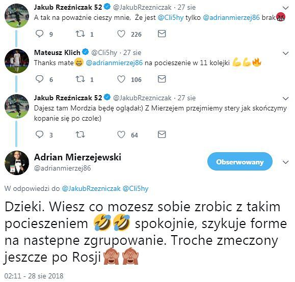Screen z tweeta Adriana Mierzejewskiego