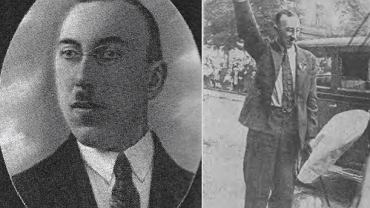 Kazimierz Kowalski, prezes Stronnictwa Narodowego, z faszystowskim pozdrowieniem