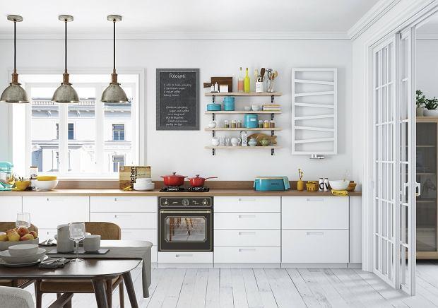 Biała Kuchnia Drewniany Blat Wnętrzaaranżacje Wnętrz