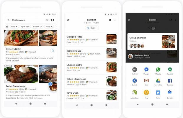Nowa funkcja w Google Maps - wybierzesz restaurację razem ze znajomymi