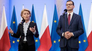 Przewodnicząca - elekt Komisji Europejskiej Ursula von der Leyen i premier Mateusz Morawiecki podczas pierwszej wizyty w Polsce, Warszawa 25.07.2019.