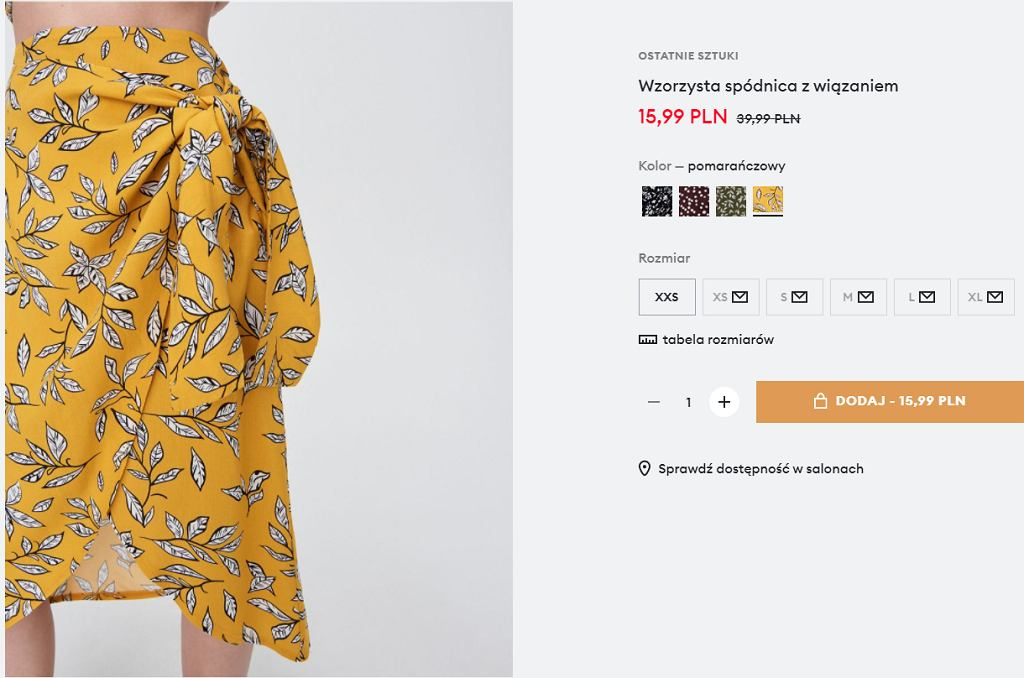 spódnica w kwiaty Sinsay