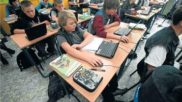Lekcja matematyki z użyciem notebooków w Gimnazjum nr 56 w Poznaniu