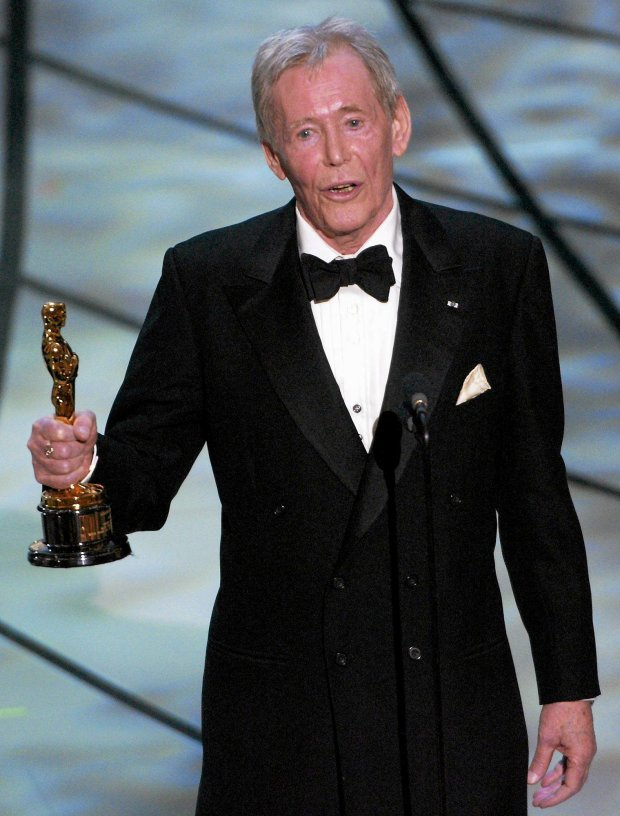 FILE - In this March 23, 2003 file photo, Actor Peter O'Toole accepts his honorary Oscar from the Academy of Motion Picture Arts and Sciences during the 75th annual Academy Awards telecast in Los Angeles. O'Toole, the charismatic actor who achieved instant stardom as Lawrence of Arabia and was nominated eight times for an Academy Award, has died. He was 81. O'Toole's agent Steve Kenis says the actor died Saturday, Dec. 14, 2013 at a hospital following a long illness. (AP Photo/Kevork Djansezian)
