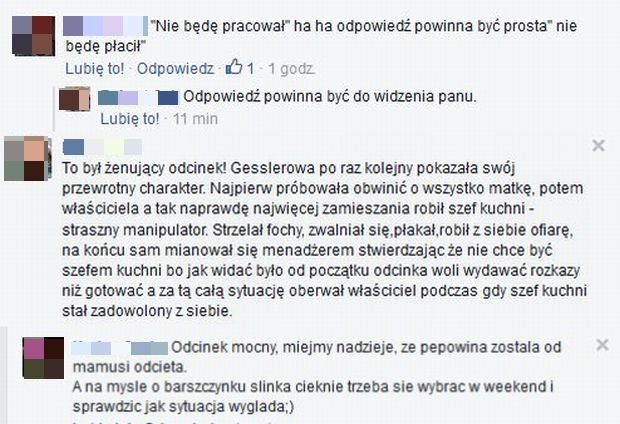 Komentarze na Facebook.com/Kuchenne rewolucje
