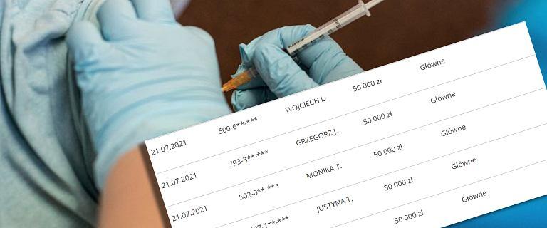 Loteria szczepionkowa. Wyniki losowania 50 tys. zł. Lista zwycięzców