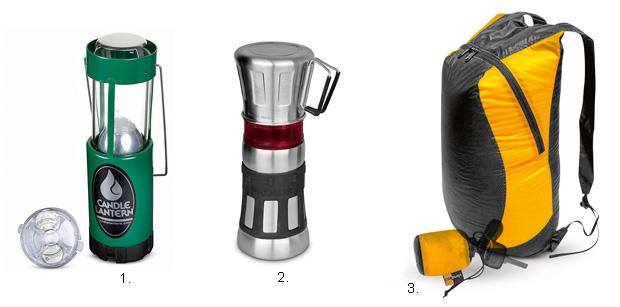 Podróże: ultralekki sprzęt trekkingowy, wakacje, podróże, 1. Kompaktowa latarka UCO Candle Lantern Plus LED 2. Maszynka do kawy Primus Flip N' Drip 3. Składany plecak Sea to Summit