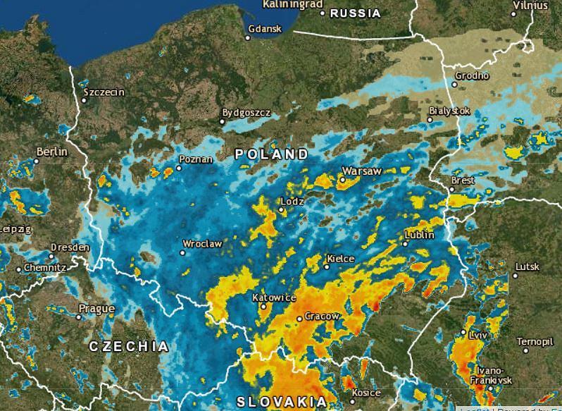 Opady deszczu nad Polską