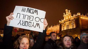 Protest przeciwko fałszerstwom wyborczym i nieudolności Państwowej Komisji Wyborczej podczas wyborów samorządowych. Kraków, 20 listopada 2014 r.