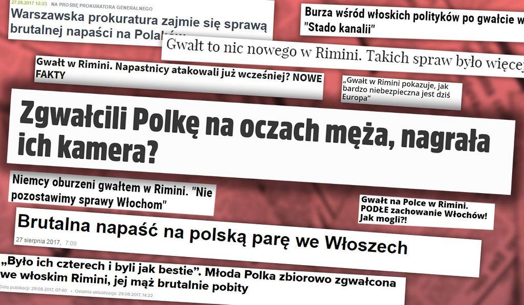 Gwałt w Rimini - nagłówki w mediach