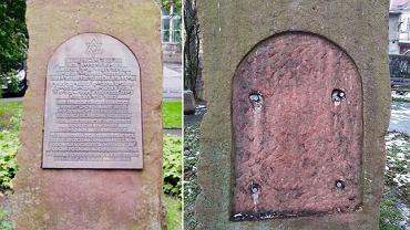 Nieznany sprawca ukradł tablicę z pomnika upamiętniającego synagogę w Kłodzku