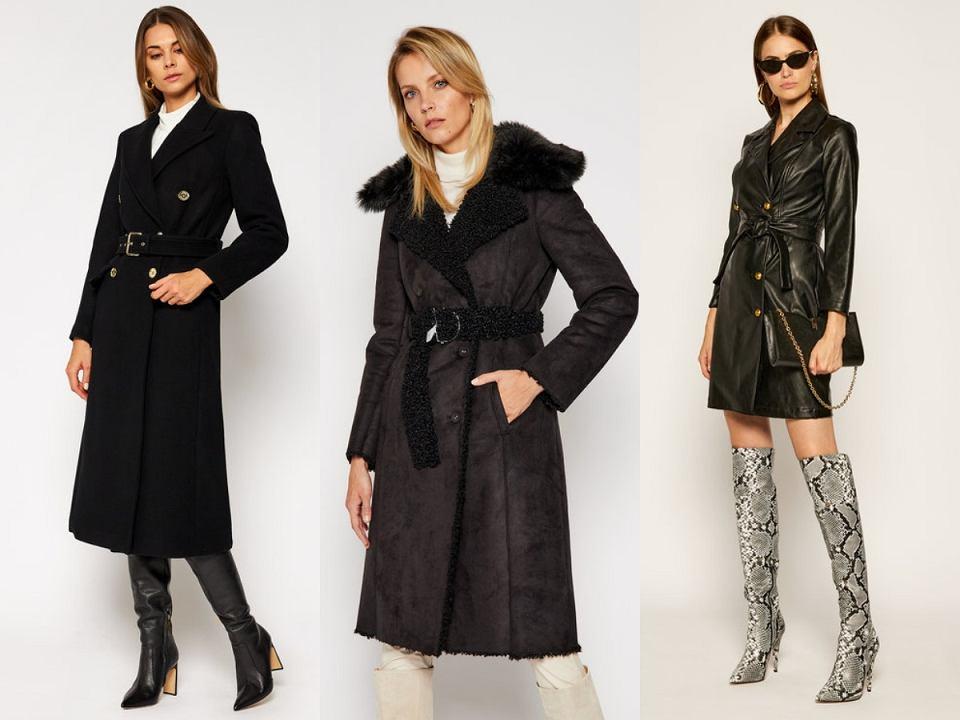 Czarne wiązane płaszcze na zimę