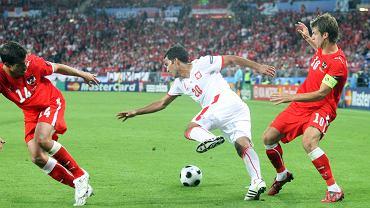 Roger Guerreiro (C) podczas meczu Austria-Polska w 2008 roku.