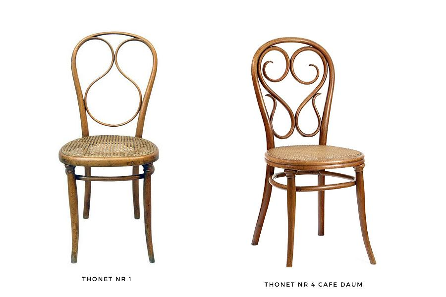 Thonetowskie modele krzesła: nr 4 Cafe Daum, który jest dziś klasykiem wiedeńskich kafejek oraz nr 1