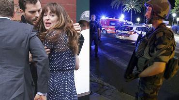 Jamie Dornan i Dakota Johnson na planie filmu, Nicea po zamachach