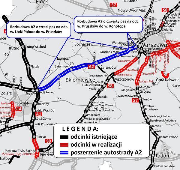 Projekt poszerzenia trasy A2 między Łodzią a Warszawą wyniósł 3,4 mln zł