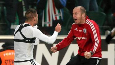 22.10.2016 r. Aleksandar Vuković świętuje gola z Nemanją Nikoliciem w meczu Legii z Lechem