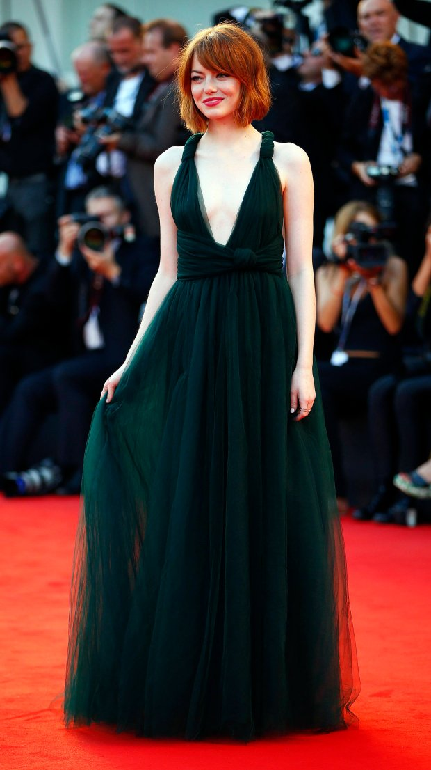 U.S. actress Emma Stone poses during the red carpet for the movie