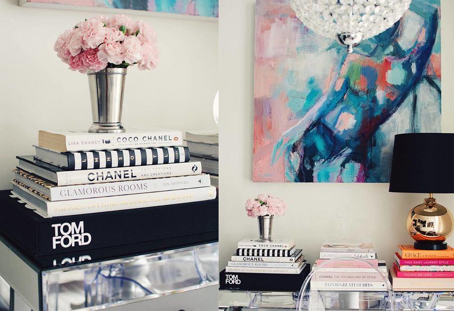 Książki o modzie i dizajnie - aranżacja szafki