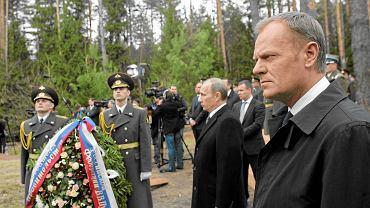 7 kwietnia 2010 r. w Katyniu, spotkanie Donalda Tuska z ówczesnym premierem Władimirem Putinem