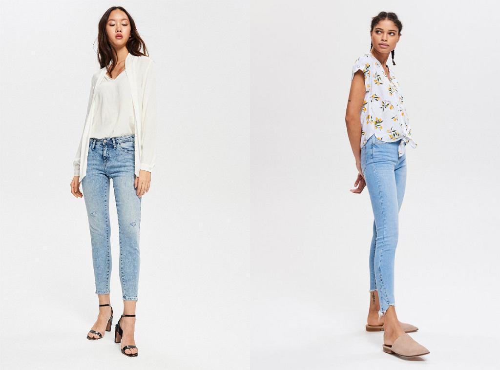 jasne jeansy ze zwężanymi nogawkami, typu rurki