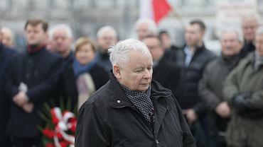 Jarosław Kaczyński podczas 119 Miesięcznicy Smoleńskiej