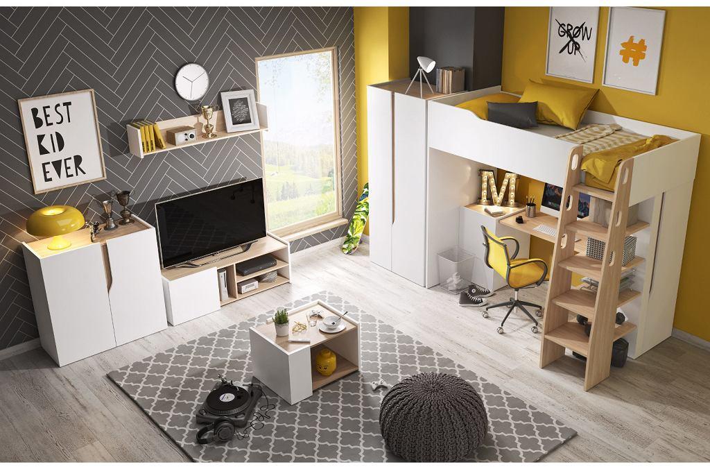 Pokój młodzieżowy dla chłopca - obok bieli i szarości pojawia się słoneczny, żółty kolor