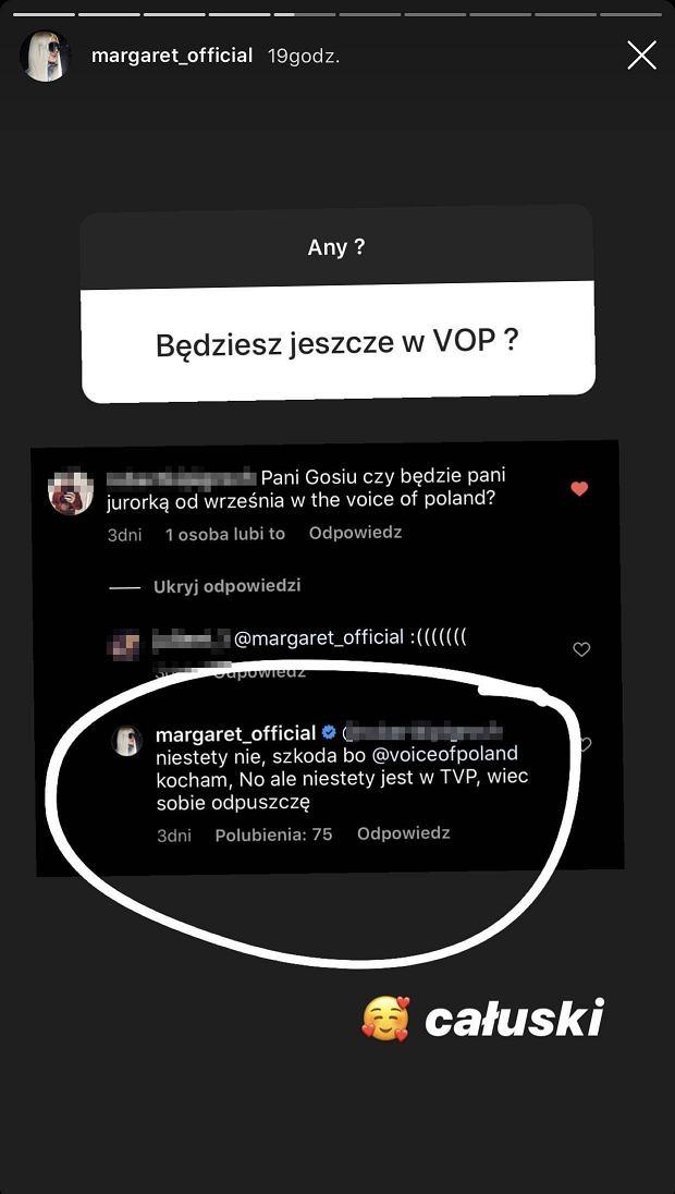 Margaret zrezygnowała z 'The Voice of Poland'