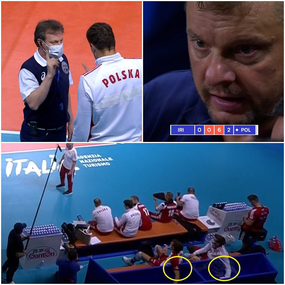 Fabian Drzyzga rozmawia z sędzią o dopingu, jaki prowadzą nasi rezerwowi podczas meczu Polska - Iran. Trener Iranu Władimir Alekno daje reprymendę swoim siatkarzom