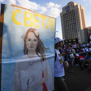 17.08.2020, Mińsk, portret Swiatłany Cichanouskiej na demonstracji przeciw Łukaszence.