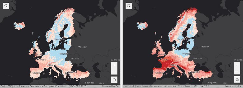 Przewidywana zmiana meteorologicznego zagrożenia pożarami lasów do końca XXI wieku dla dwóch scenariuszy emisji w porównaniu z okresem 1981-2010